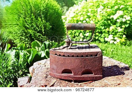 Old smoothing-iron on the wood stump with green grass background