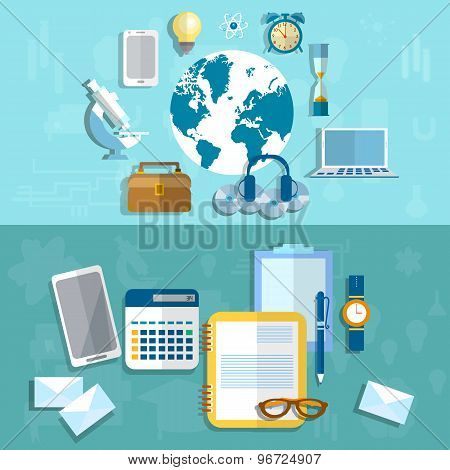 Education, Science And Research, Medical Technology, Communications, Online Learning, vector banners