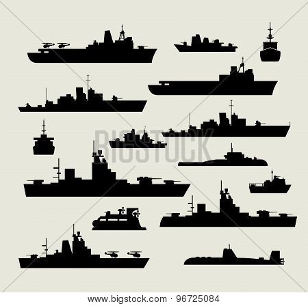 silhouettes of warships