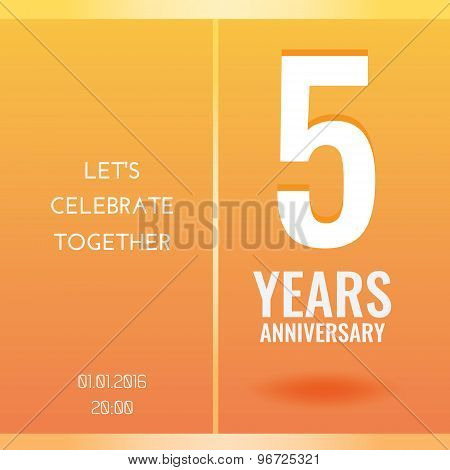 5th Years Anniversary Celebration invitation card design