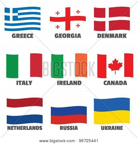 Set of wave national flags with title for web, printing materials, tv.