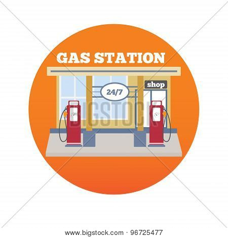 Gas station illustration