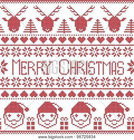 Scandinavian Merry Christmas pattern with Santa Claus, xmas presents, reindeer, decorative ornaments