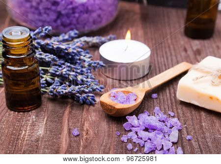 Spa Still Life With Sea Salt And Lavender Flowers On The Wooden Background