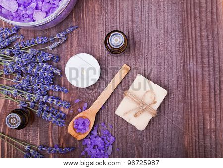 Spa Still Life With Lavender And Aroma Oils