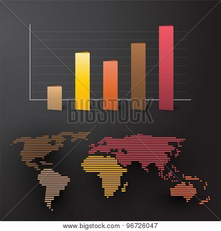 World Map With Colored Graph By Continent