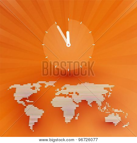 Orange World Map With A Countdown Clock
