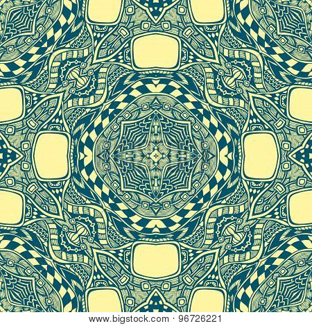 Seamless pattern from abstract  ornament blue yellow