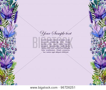 Floral border with wildflowers