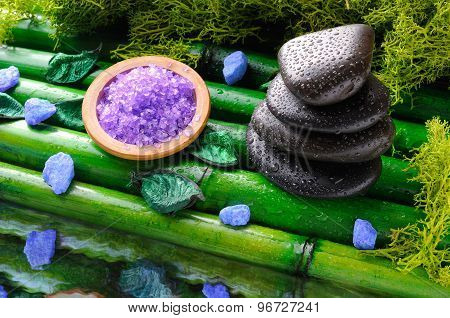 Stack Of Black Stones And Salt For Massage And Bath