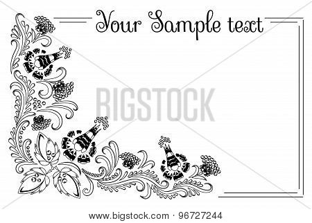 drawing banner with floral ornament with elements of berries and leaves