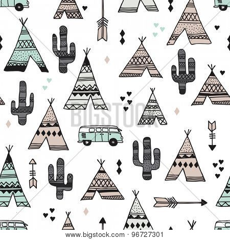 Seamless teepee tent arrow and cactus botanical indian summer camping trip van illustration background western pattern in vector