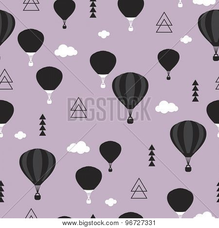 Seamless geometric hot air balloon illustration purple sky Scandinavian style background pattern in vector