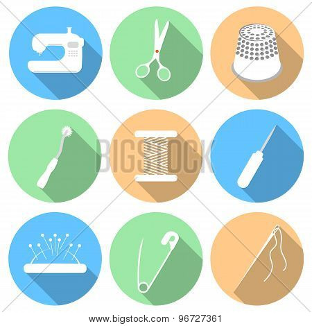 Vector illustration of sewing icon set
