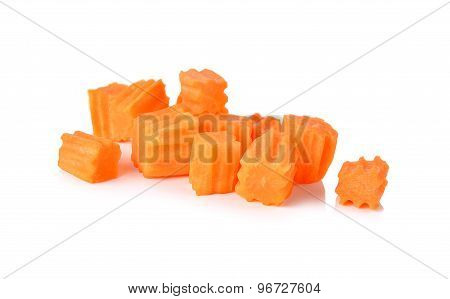 Carving Square Carrot On White Background