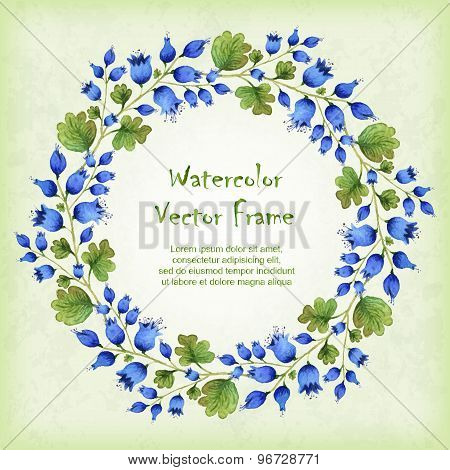 Vector Round Frame With Watercolor Blue Bellflowers
