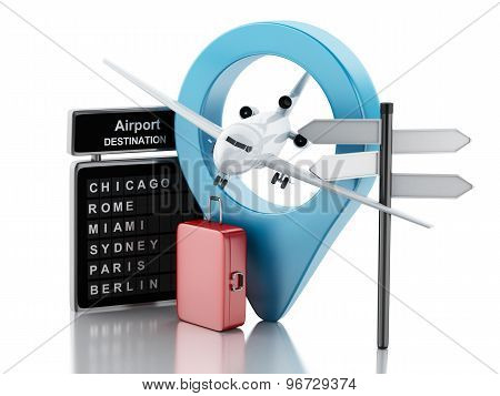 3D Airport Board, Travel Suitcases And Airplane. Travel Concept