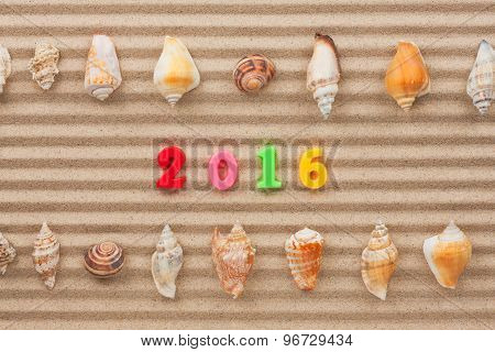 New Year 2016 Written In The Sand And Shell