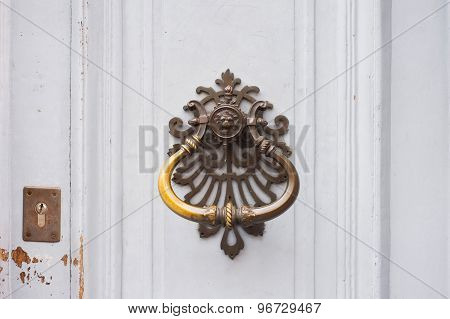 The close-up of an old door handle in a shape of lion head
