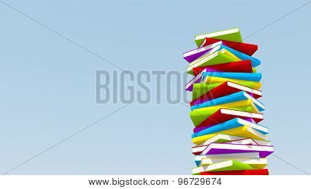 Stack Of Colorful Books Against Blue Sky,