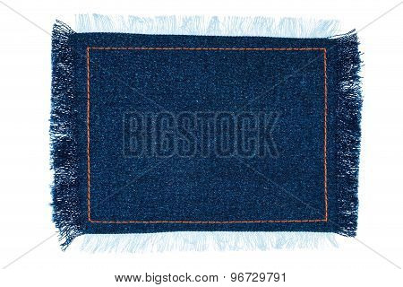 Frame For The Text From A Blue Jeans Fabric With The Stitched Lines Of An Orange Thread
