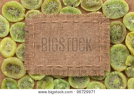 Frame Made Of Burlap On Dried Kiwi
