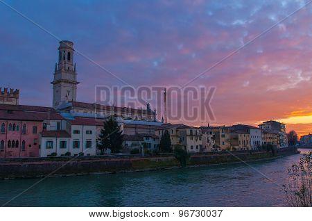 Verona skyline at sunset.