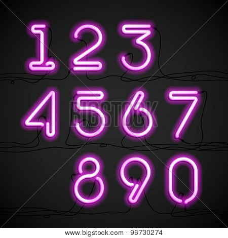 Pink neon light alphabet numbers with cable. Vector.