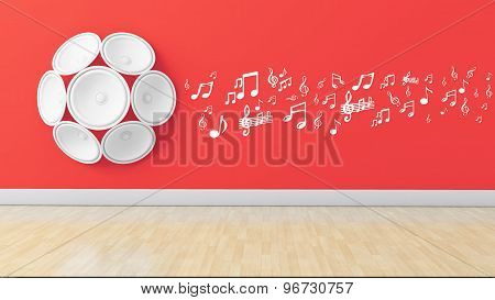 3D Speakers With Musical Note On Wall,