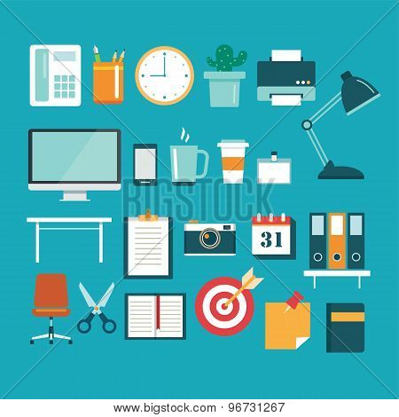 Set Of Office Equipment Icon Flat Design