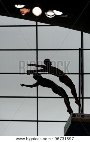 LONDON, GREAT BRITAIN - APRIL 25 2015: Stephan Feck and Patrick Hausding of Germany competing in the men's synchro 10m platform during day one of the FINA/NVC Diving World Series 2014