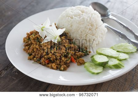 Rice Topped With Stir Fried Pork With Yellow Curry Paste