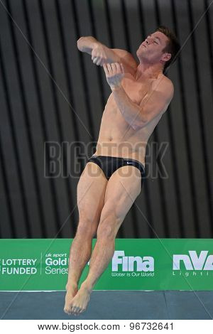 LONDON, GREAT BRITAIN - APRIL 27 2015: David Boudia of The United States of America competing in the men's 10m platform during the FINA/NVC Diving World Series at the London Aquatics Centre