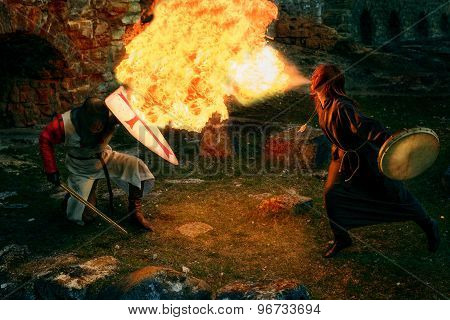 Ancient mystic knights battle with the witch