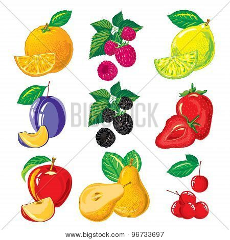 set of ripe fruit and slices of fruit, berries