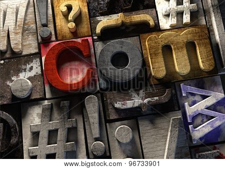 Wooden Printing Blocks Form Ulr .com Concept For Web Domain Name.