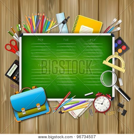 School Timetable On Green Classroom Chalkboard With Supplies Tools