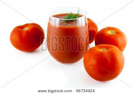 Tomato Juice And Group Of Tomatoes On White