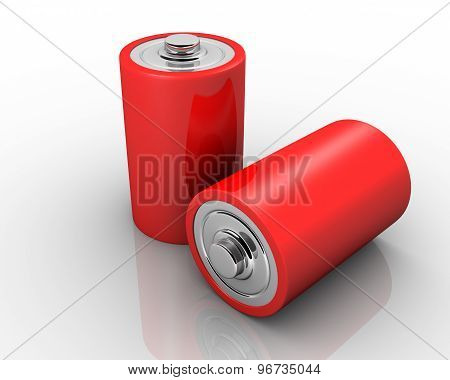 Red Aa Batteries In A Row