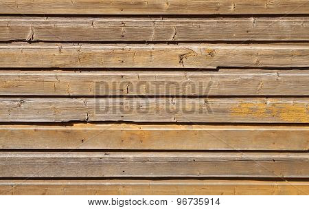 Old Wooden Wall With Cracked Yellow Paint Layer