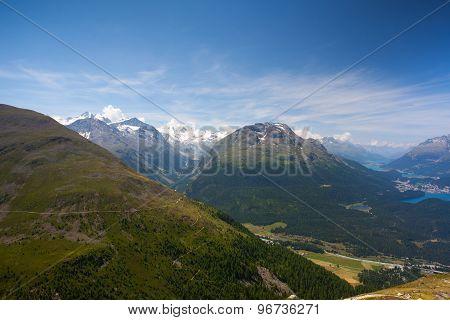 Panorama Of The Upper Engadine From Muottas Muragl
