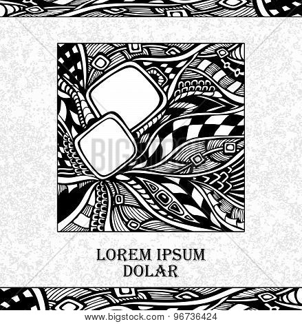 Template with doodle on grunge background in white black