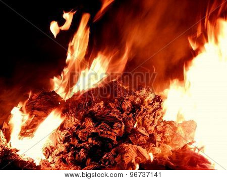 Embers burning in flame at night closeup