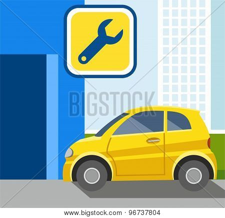 Repair Of Car, Yellow Car, Co...