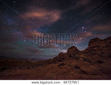 Beautiful Night Starry Sky With Rising Milky Way Valley Of Fire State Park Nevada