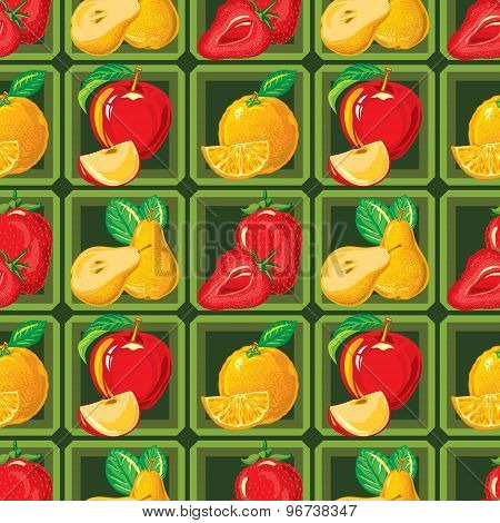 seamless pattern of ripe strawberry, apple, orange and pear