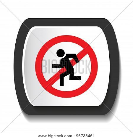 Round icon forbidding jogging