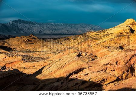 Rainbow Vista Valley Of Fire Nevada With The Mountain Ridge In The Background
