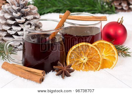 Mulled Wine On Christmas In Winter Alcohol Drink Decoration With Snow