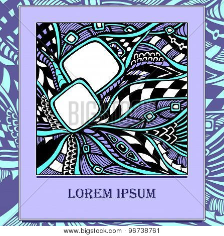 Template with  abstract doodles in  cyan lilac